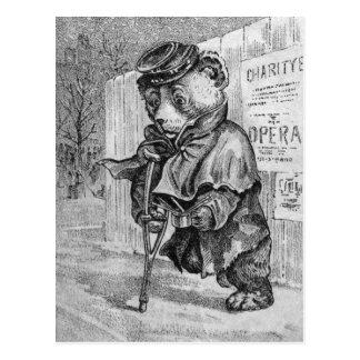 Lame Bear - Letter L - Vintage Teddy Bear Postcard