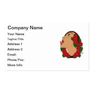 Lamedura de la señora con las flores rojas y los tarjetas de visita