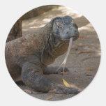 Lamedura del dragón de Komodo Pegatina Redonda