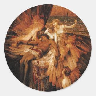 Lament for Icarus by Herbert Draper Round Sticker