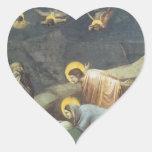 Lamentación de Giotto de Cristo Calcomanías De Corazones Personalizadas