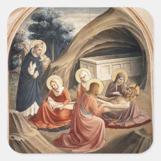 Lamentación del Fra Angelico- sobre Cristo Calcomanía Cuadradas Personalizada
