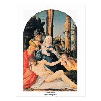 Lamentation By Baldung Hans Postcard