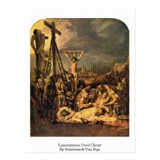 Lamentation Oved Christ By Rembrandt Van Rijn Postcard
