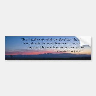 Lamentations 3:21-22 car bumper sticker