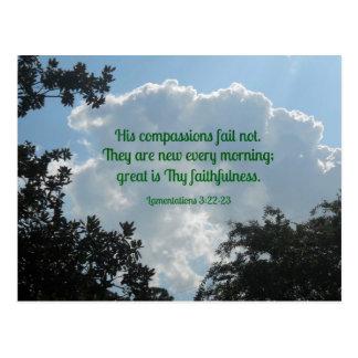 Lamentations 3:22-23 His compassions fail not... Postcards