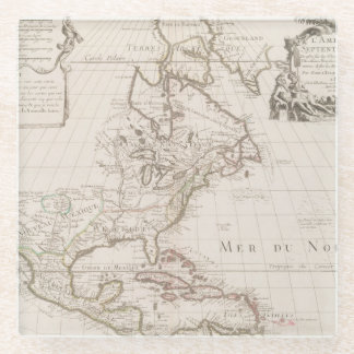 L'Amerique (1700) American Map Glass Coaster