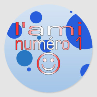 L'Ami Numéro 1 in Canadian Flag Colors for Boys Classic Round Sticker