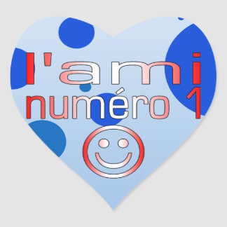 L'Ami Numéro 1 in Canadian Flag Colors for Boys Heart Sticker