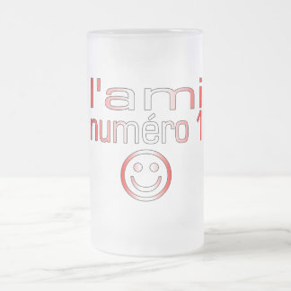L'Ami Numéro 1 in Canadian Flag Colors for Boys 16 Oz Frosted Glass Beer Mug