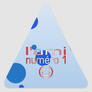 L'Ami Numéro 1 in Canadian Flag Colors for Boys Triangle Sticker