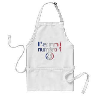 L'Ami Numéro 1 in French Flag Colors for Boys Adult Apron