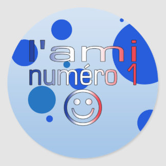 L'Ami Numéro 1 in French Flag Colors for Boys Classic Round Sticker
