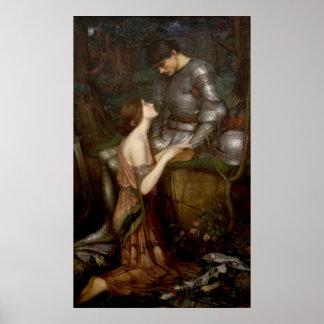 Lamia y el soldado por el Waterhouse de JW Póster