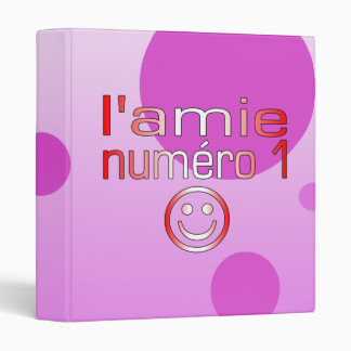 L'Amie Numéro 1 in Canadian Flag Colors for Girls 3 Ring Binder