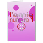 L'Amie Numéro 1 in Canadian Flag Colors for Girls Greeting Card
