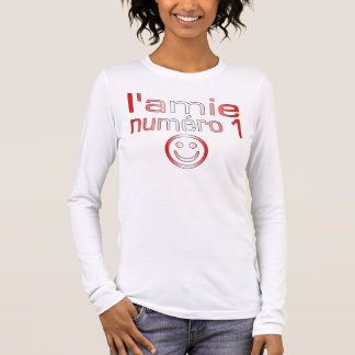 L'Amie Numéro 1 in Canadian Flag Colors for Girls Long Sleeve T-Shirt