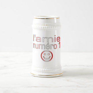 L'Amie Numéro 1 in Canadian Flag Colors for Girls 18 Oz Beer Stein