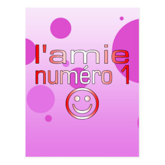 L'Amie Numéro 1 in Canadian Flag Colors for Girls Postcard