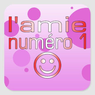 L'Amie Numéro 1 in Canadian Flag Colors for Girls Square Sticker