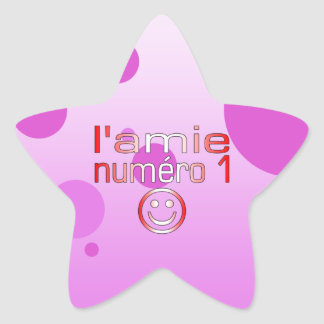 L'Amie Numéro 1 in Canadian Flag Colors for Girls Star Sticker