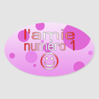L'Amie Numéro 1 in Canadian Flag Colors for Girls Oval Sticker