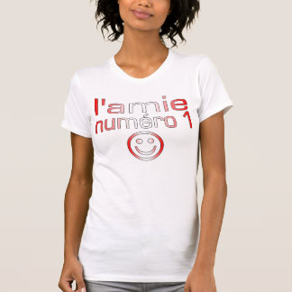L'Amie Numéro 1 in Canadian Flag Colors for Girls Tshirt