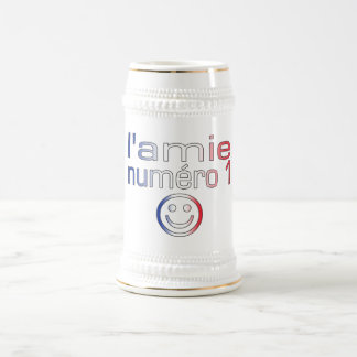 L'Amie Numéro 1 in French Flag Colors for Girls Coffee Mugs