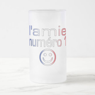 L'Amie Numéro 1 in French Flag Colors for Girls 16 Oz Frosted Glass Beer Mug