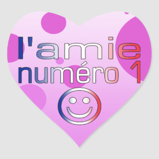 L'Amie Numéro 1 in French Flag Colors for Girls Heart Sticker