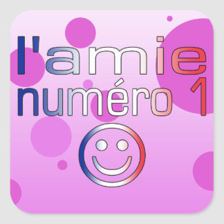 L'Amie Numéro 1 in French Flag Colors for Girls Square Sticker