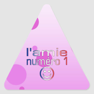 L'Amie Numéro 1 in French Flag Colors for Girls Triangle Sticker