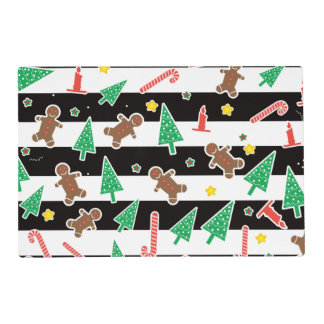 Laminated Fashion stripes Christmas cheer Placemat