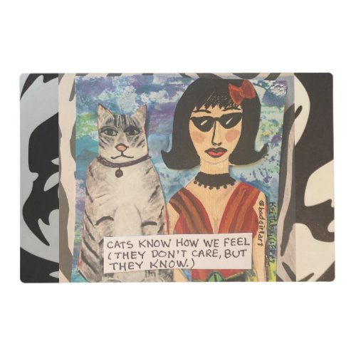 LAMINATED REVERSIBLE PLACEMAT_CATS KNOW HOW WE PLACEMAT