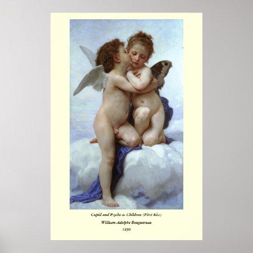 L'Amour y psique, enfants (Cupid) de Bouguereau Poster