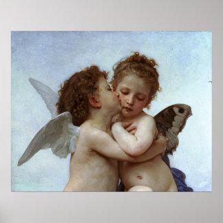 L'Amour y psique, enfants (Cupid) de Bouguereau Póster
