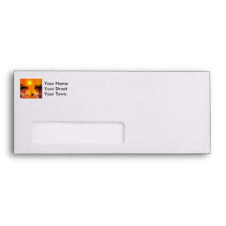 Lamp boat in the sunset envelope