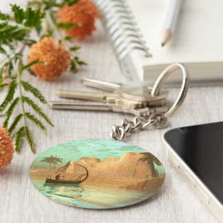 Lamp boat with fairy basic round button keychain