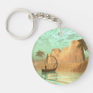 Lamp boat with fairy Single-Sided round acrylic keychain