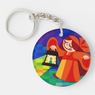 Lamp Girl Double-Sided Round Acrylic Keychain