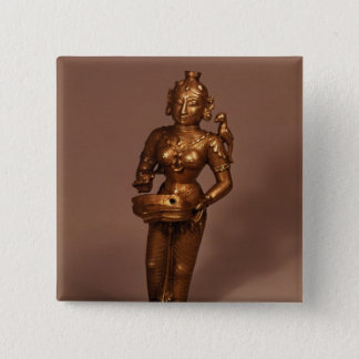 Lamp in the form of Goddess of Fortune Pinback Button