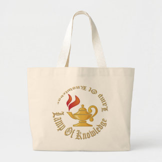Lamp-of-Knowledge WITH TEXT Large Tote Bag
