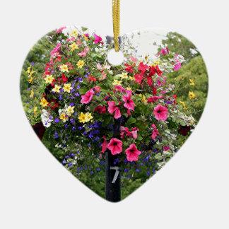 Lamp post & flowers ceramic ornament
