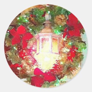 Lamp Post Light W/Christmas Wreath Round Stickers