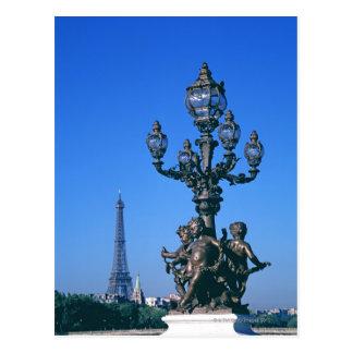 Lamp post on Pont Alexandre III Bridge and Postcard