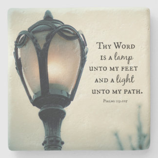 Lamp unto my Feet, Light unto my Path Bible Verse Stone Coaster