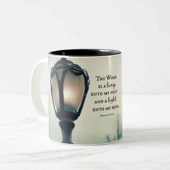 Lamp unto my Feet, Light unto my Path Bible Verse Two-Tone Coffee Mug