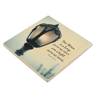 Lamp unto my Feet, Light unto my Path Bible Verse Wooden Coaster
