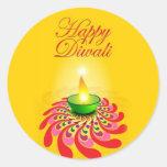Lámpara amarilla hermosa de Diwali Pegatina Redonda