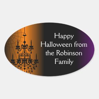 Lámpara anaranjada/negra de Halloween Calcomanías Óvales Personalizadas